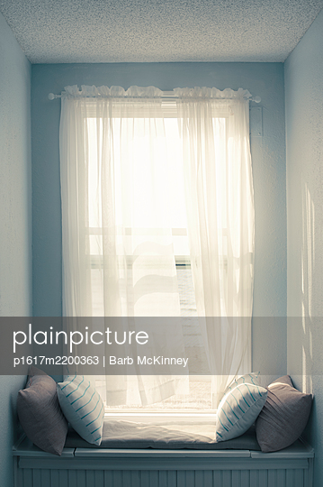 Sunny Window Seat with Blowing Curtain - p1617m2200363 by Barb McKinney