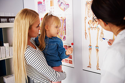 Doctor explaing anatomic diagram to mother with girl in medical practice - p300m1567662 by gpointstudio