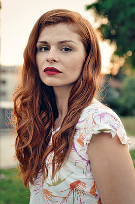 Portrait of a beautiful red haired woman - p577m1332551 by Mihaela Ninic