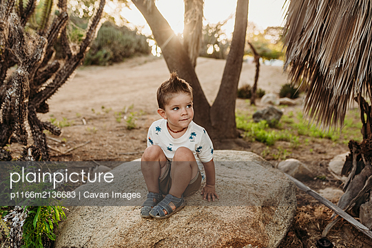 Portrait of young boy sitting on rock and smiling in cactus garden - p1166m2136683 by Cavan Images