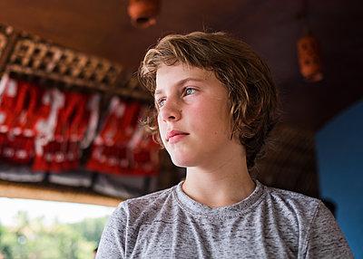 Boy's Profile on Boat - p1503m2020409 by Deb Schwedhelm