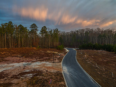 Road to forest at sunset - p343m1485371 by Peter Essick photography