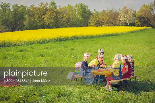 Six children with paper crowns celebrating birthday on a meadow