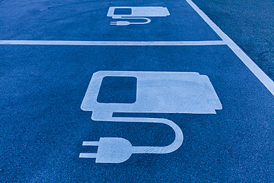 Electric Vehicle Charging Station symbol at the motorway - p300m2140759 by Tom Chance