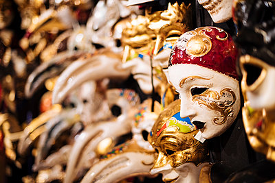 Traditional Venetian masks on display, San Marco, Venice, Veneto Province, Italy, Europe - p871m2003589 by Ben Pipe