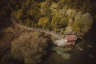 Rioseco Reservoir from aerial view - p1166m2152236 by Cavan Images
