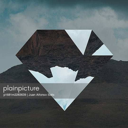 Geometric body against mountain range, collage - p1681m2283639 by Juan Alfonso Solis