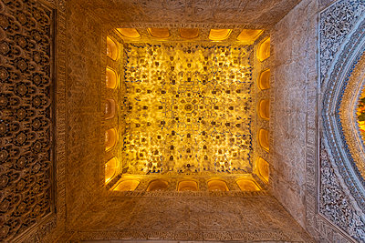 Spain, Granada, Details of the ceiling in Alhambra palace - p1332m2205618 by Tamboly