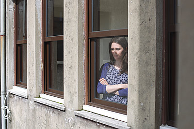 Girl at Window Arms Crossed - p1304m1144279 by MY MY