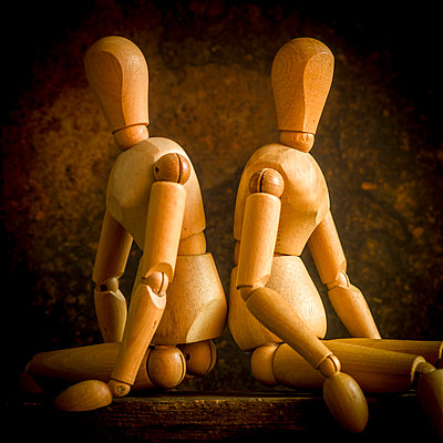 Two wooden mannequins - p813m1222301 by B.Jaubert