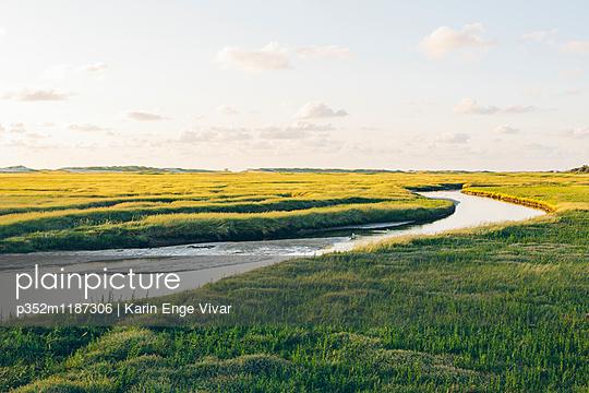 Germany, Schleswig-Holstein, Kreis Nordfriesland, Sankt Peter-Ording, Rural landscape with river - p352m1187306 by Karin Enge Vivar