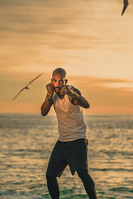 Boxer trainiert am Strand - p1474m2053527 von Yuriy Orgakov