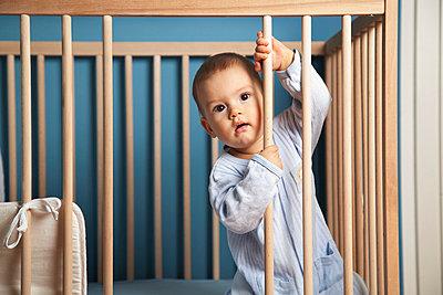 Little boy in pyjama - p5730300 by Birgid Allig