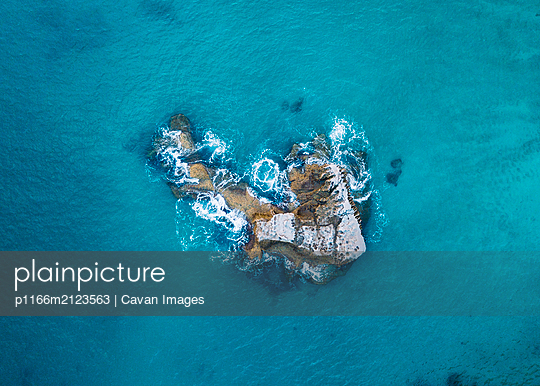 Cathedral Cove from above in New Zealand - p1166m2123563 by Cavan Images