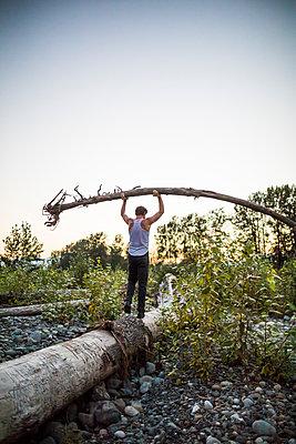 Man carefully balances tree above head while walking on log. - p1166m2147250 by Cavan Images