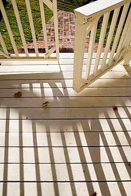 Traditional White Porch Gate - p5551093f by LOOK Photography