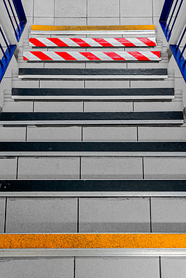 Set of steps with several barrier tapes - p1280m2223556 by Dave Wall