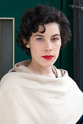 Woman with red lipstick - p873m2071069 by Philip Provily