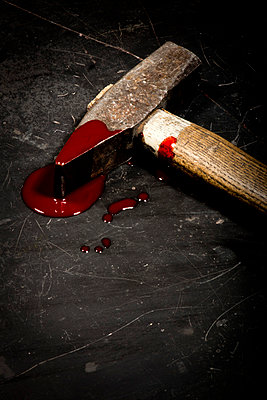 Hammer with blood - p451m814744 by Anja Weber-Decker