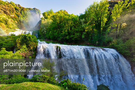 Marmore Waterfalls in spring, Marmore Waterfalls Park, Terni, Umbria, Italy