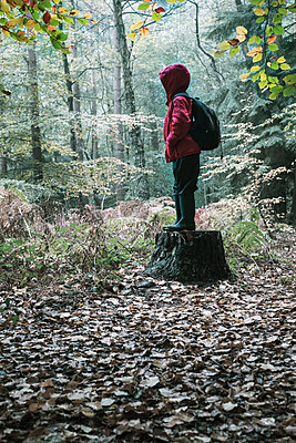 Child alone in a forest clearing - p1228m2128530 by Benjamin Harte