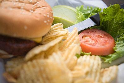 Hamburger with chips - p4341822 by Alin Dragulin