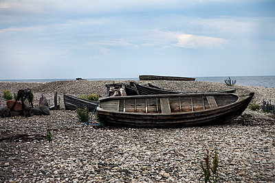 Old rowing boat, Gotland, Sweden - p312m857889f by Lena Koller