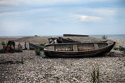 Old rowing boat, Gotland, Sweden - p312m857889f by Lena Koller