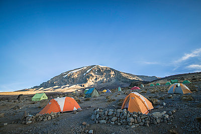 Tents near summit of mountain - p343m1475791 by Suzanne Stroeer