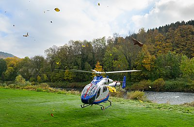 Medical helicopter taking off from flooded land on the German Luxembourg border - p429m1103292 by Mischa Keijser