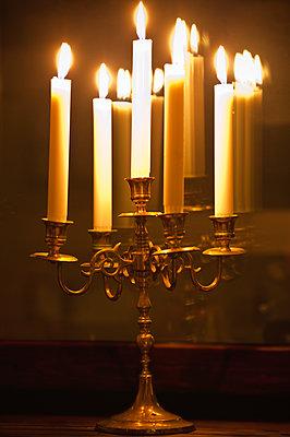 Candlestick with candles - p1418m1571831 by Jan Håkan Dahlström