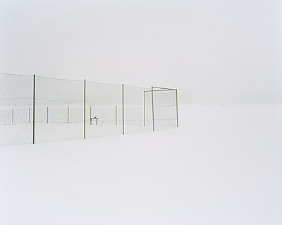 A tennis court in the snow Sweden - p312m1076667f by Jan  Tove