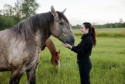 Young woman and horse - p956m1044361 by Anna Quinn