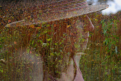 Double exposure of woman and buckwheat - p1631m2209784 by Raphaël Lorand