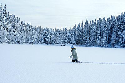 A woman skiing in deep snow. - p31216179f by Pål Rödahl