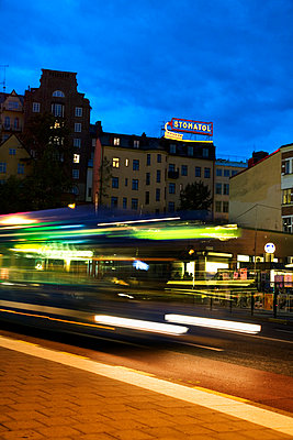 Sweden, Stockholm, Sodermalm, Slussen, City street at night - p352m1126646f by Lena Katarina Johansson