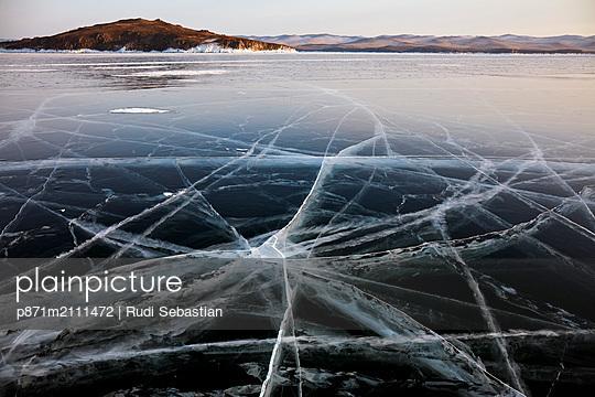 Lake Baikal in winter ice, Siberia, Russia - p871m2111472 by Rudi Sebastian