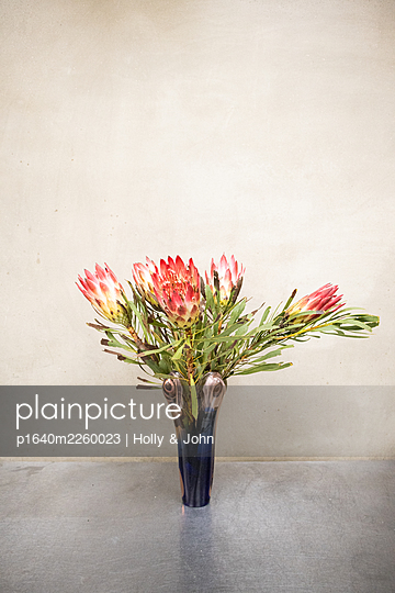 Flower bouquet with protea blossoms - p1640m2260023 by Holly & John