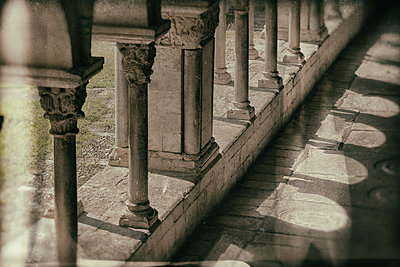 Gravestones. Romanesque cloister of Santa María de Girona Cathedral (started 14th century). Girona. Catalonia. Spain - p620m2237706 by M.A. Muñoz Pellicer