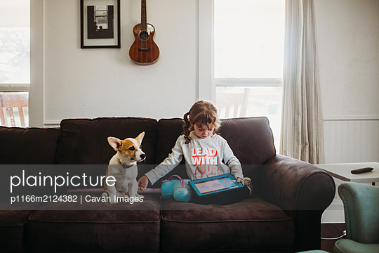 Young girl petting corgi puppy while playing tablet on couch - p1166m2124382 by Cavan Images