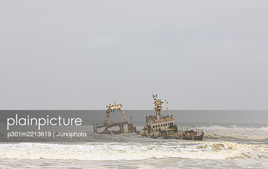 Shipwreck in ocean surf, Torra Bay, Namibia - p301m2213619 by Junophoto