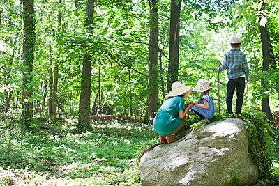 Mother, Boy And Girl On Rock In Forest - p463m1066037 by Yo Oura