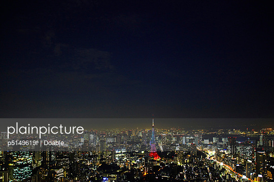 Tokyo Tower and City at Night - p5149619f by Doable