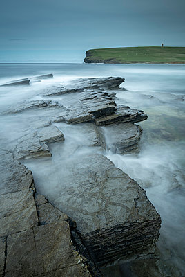 Dramatic rock ledges on the wild west coast of Orkney, Scotland, United Kingdom, Europe - p871m2209427 by Adam Burton