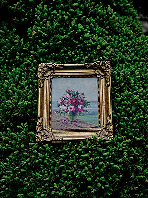 Rose painting placed on evergreen - p1279m1423851 by Ulrike Piringer