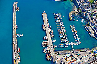 Aerial view of English fishing harbour - p4296362 by Frank and Helena