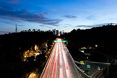 Road traffic to Los Angeles in the evening - p1094m2057235 by Patrick Strattner