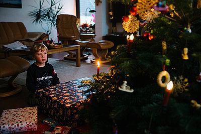 Junge vor dem Weihnachtsbaum - p819m1128405 von Kniel Mess
