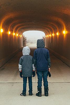 Boys in Dark Tunnel - p1262m1115685 by Maryanne Gobble