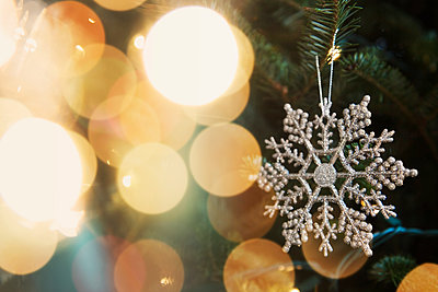 Snowflake ornament on Christmas tree - p555m1231856 by JGI/Jamie Grill
